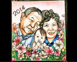 似顔絵制作6 ご両親への誕生日プレゼント