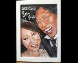 似顔絵制作15 結婚祝いのプレゼントに