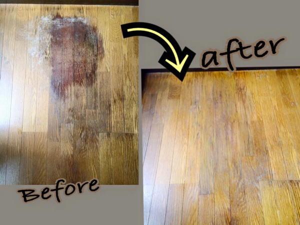 木目補修事例2 床のしみ木目補修写真
