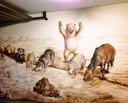 住宅ガレージに描いた壁画写真