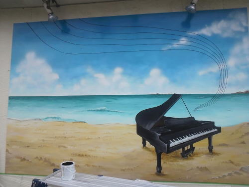 シェルティ様 - 東京都立川市/スナック・飲食店 店舗壁画施工途中写真
