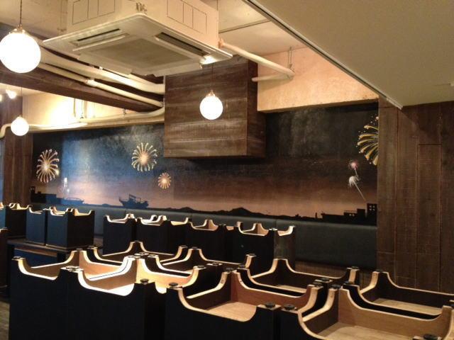 HANABI様 - 東京都/飲食店 店舗内装・壁画イラスト施工後写真1