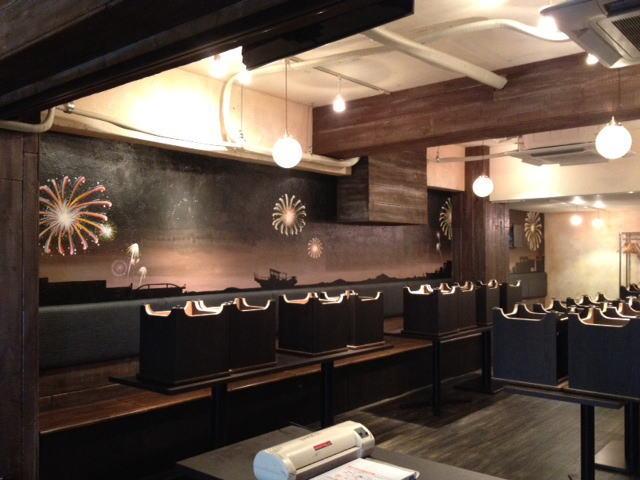 HANABI様 - 東京都/飲食店 店舗内装・壁画イラスト施工後写真3